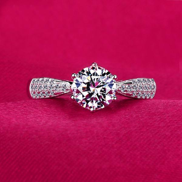 1 carat luxury simulated diamond female wedding band bridal ring real platinum white gold women micro pave crystal ring,VVS1,G-H<br><br>Aliexpress