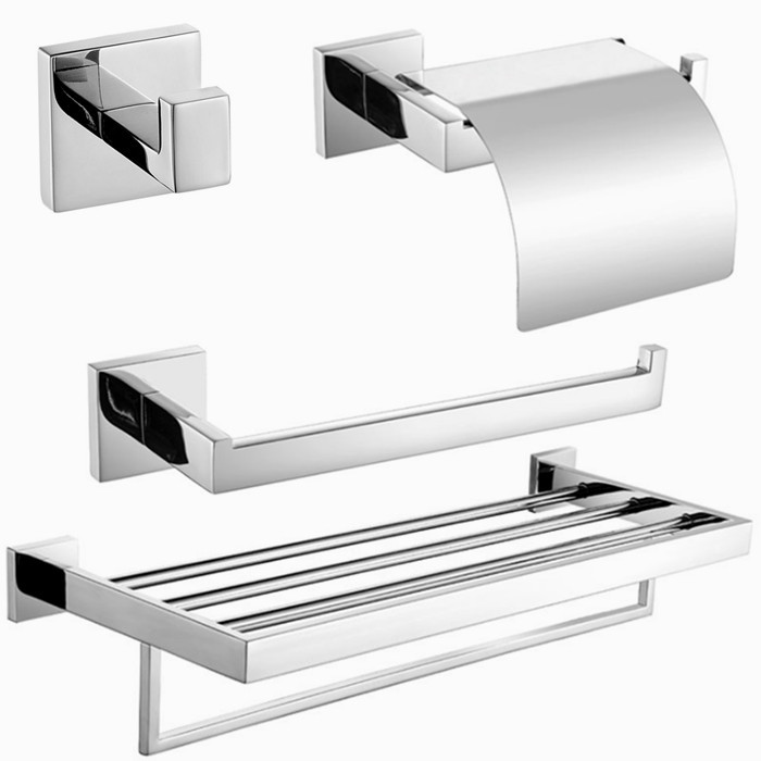 Free shipping,304 Stainless Steel Bathroom hardware Set,paper holder,towel ring,robe hook,Towel Bar SM066-a(China (Mainland))
