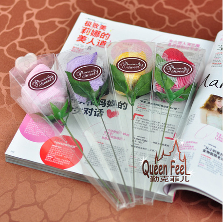 FG231 Free shipping Wholesale-20pcs/lot wedding cute rose towel,promotional gifts,gift towel promotion(China (Mainland))