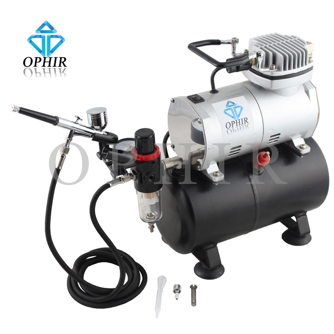 OPHIR Gravity Dual-Action Airbrush Kit with Tank Air Compressor Cake Decorating Makeup Machine To Nail Art 110V,220V_AC090+AC004(China (Mainland))