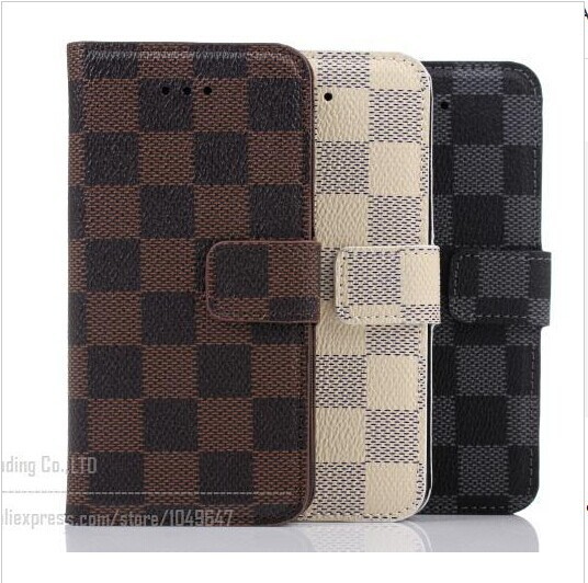 New Luxury Leather Fashion Tartan Design Case For iPhone 6 6 Plus 4.7 5.5 inch With Wallet Cover Bags For I Phone6 4.7inch case(China (Mainland))