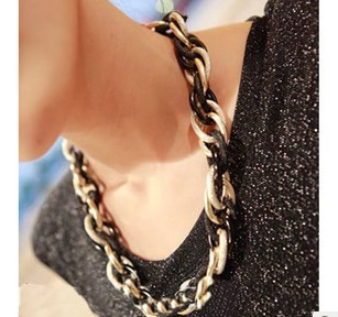 Fashion Jewelry Statement necklace chain cord chunky choker necklace big chain necklace fashion jewelry women necklace(China (Mainland))