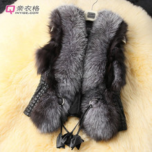 plus size new ladies fashion elegant black short design Slim fox fur vest leather vest fur & leather vest women coat outerwear