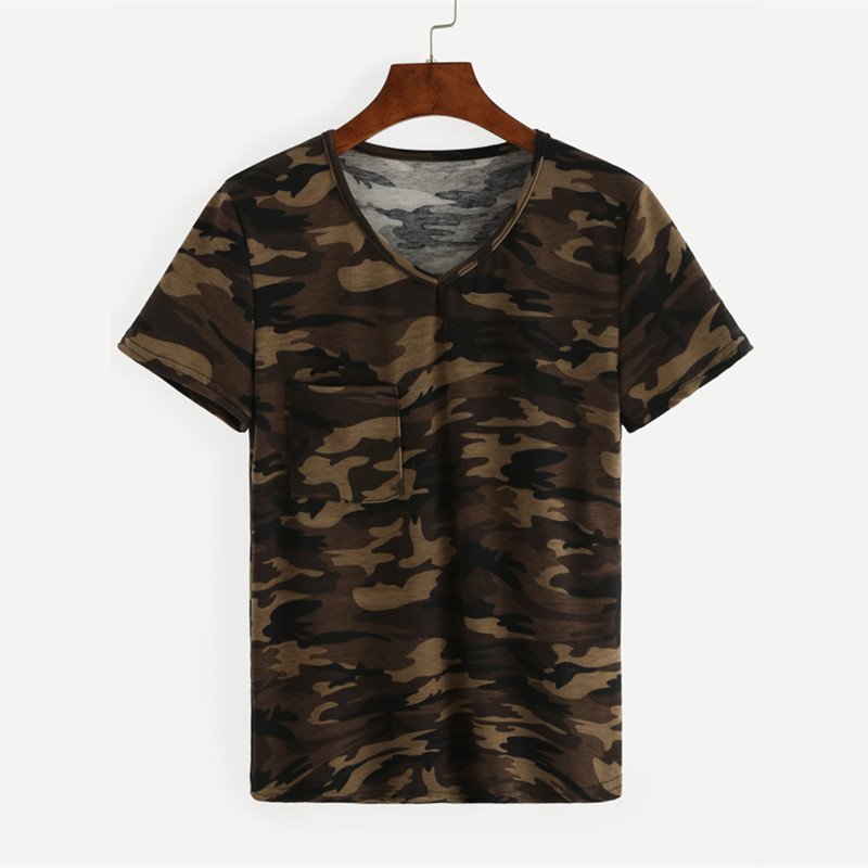 one piece Men's Size S-XL V-Neck Short Sleeve Camouflage Uniforms Camo T-Shirt camisetas hombre Top Polyester Fashion(China (Mainland))