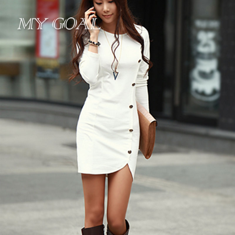 Brand New Dresses Spring Autumn Slim stylish long-sleeved dress was thin wild sexy package hip dresses 2 colors(China (Mainland))