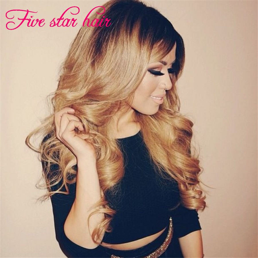 Free shipping virgin peruvian human hair wigs 200 density unprocessed glueless #1b/#27A ombre lace front wigs &amp; full lace wigs<br><br>Aliexpress