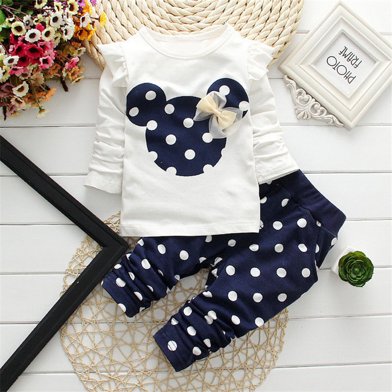 New 2016 Minnie Baby Sets Dot Kids Cloth Cotton Toddler Baby Girl Clothes Children Mickey Set Bowknot T-Shirt+Pant Spring Dress(China (Mainland))