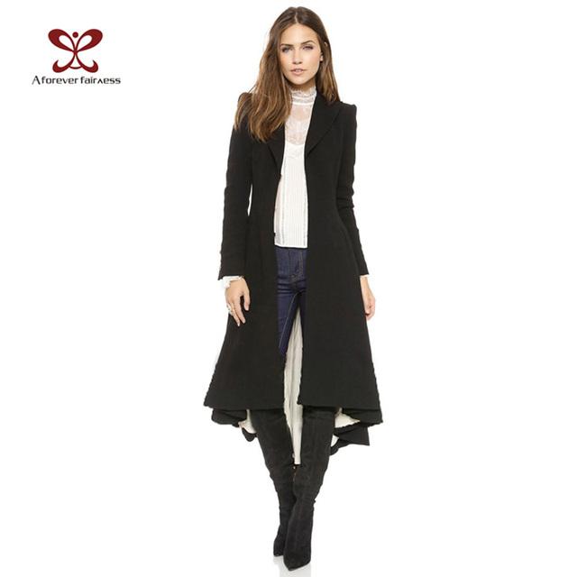 2015 Осенние Пальто Женщин Европейский стиль С Длинным Рукавом Случайные Пальто Длиной ...
