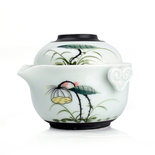 A pot a cup Kung fu tea set,quick cup,gaiwan,travel tea set,teapot,handpainted lotus,2pcs,high quality