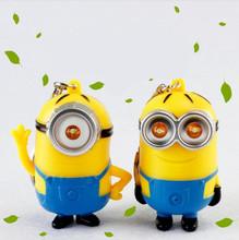 1Pcs 3D Minions Toys Cartoon Movie Despicable Me 2 Mini Minion Keychains Doll PVC Action Figure Toy Kids Toys