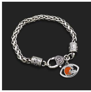10pcs unsex couple fashion Jewelry Rugby NFL Cleveland Browns team logo Super Bowl Alloy Drip sport fan men Crude Bracelets(China (Mainland))