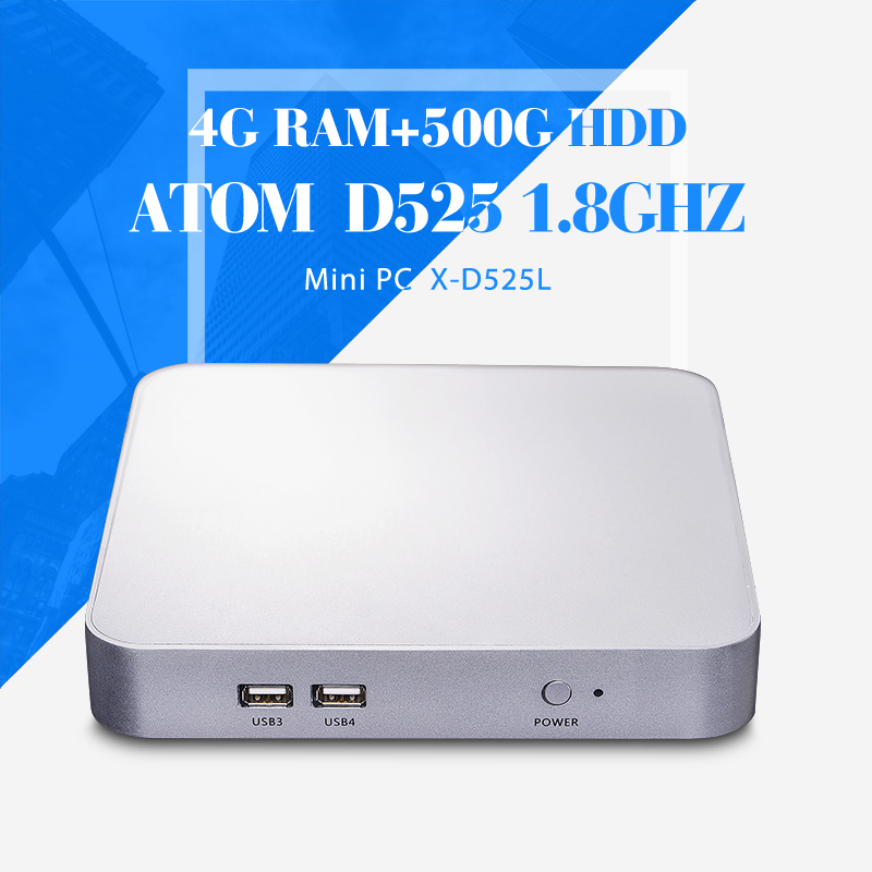 Mini computer D525 4g Ram+500g hdd+wifi Thin Client Notebook Computer Mini Itx Pc Cases Thin Client Mini Computer(China (Mainland))
