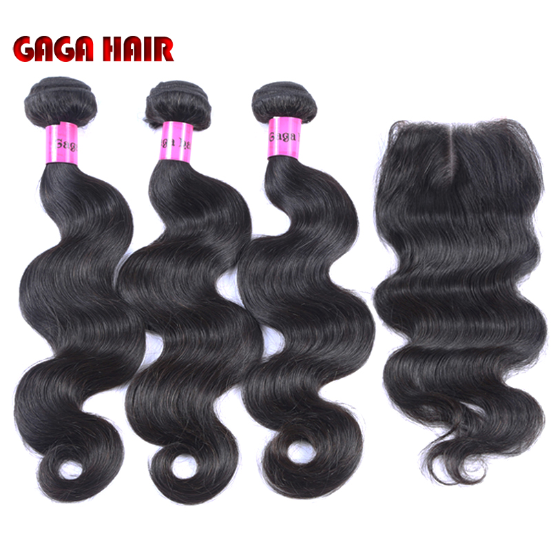 Brazilian Virgin Hair Weft Body Wave 3pcs Human Hair Weave Bundles with 1pcs Lace Closure GaGa Hair Products Hair Extensions(China (Mainland))