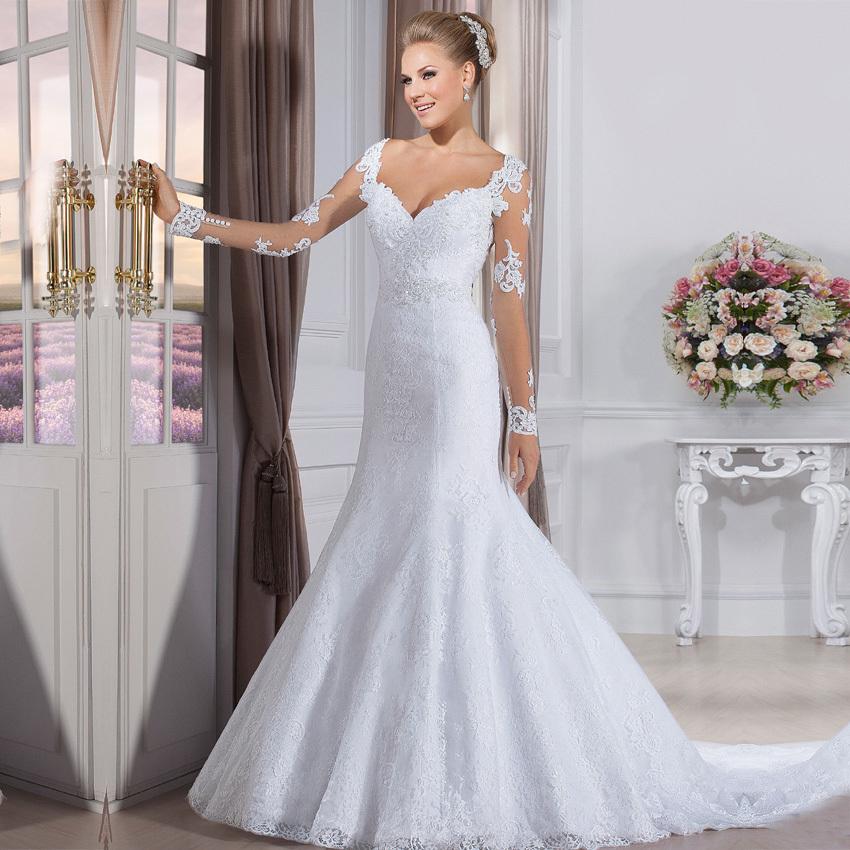 vestido de noiva Fashion Wedding Gowns Elegant Bride Dress Vintage Long Sleeve Mermaid Lace Wedding Dresses