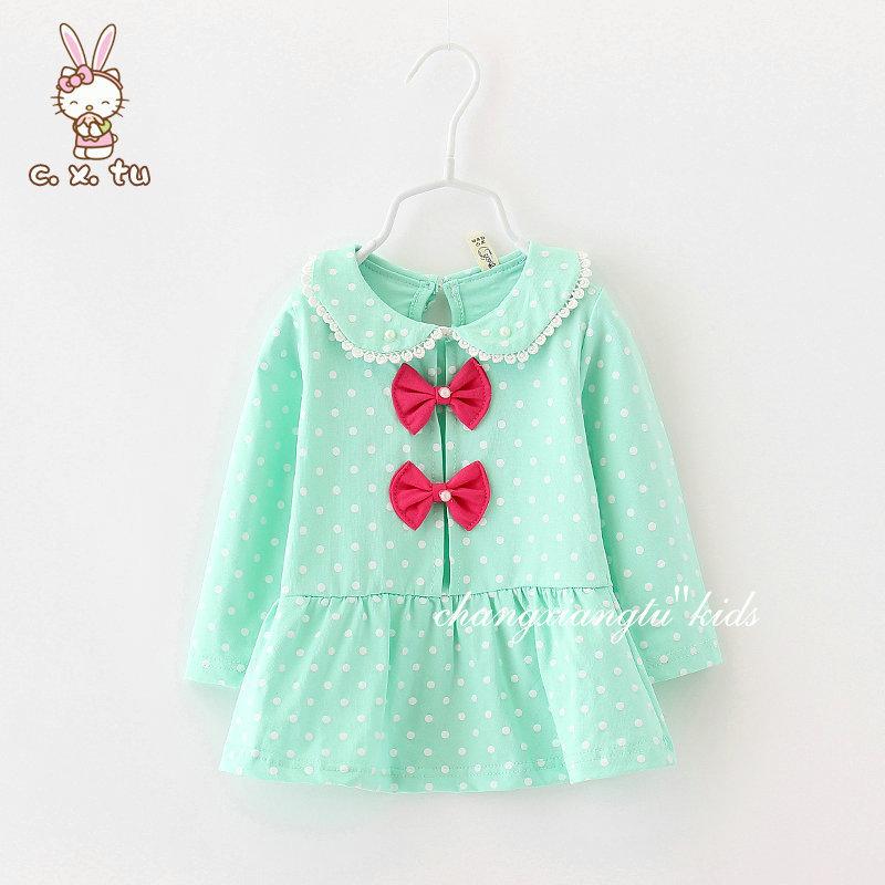 2015 spring flower pattern children's clothing girls modelslong sleeve set children free shipping hot sale(China (Mainland))