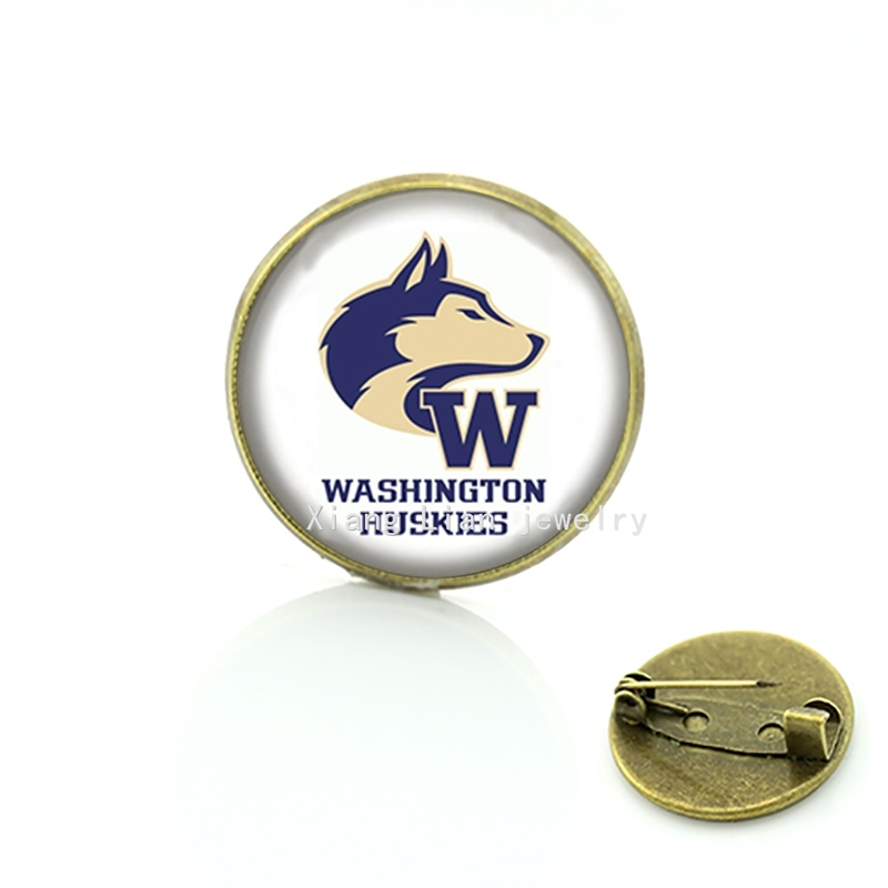 Washington Huskies rugby jewelry football brooch glass sports Team badge jewelry gift for friends and family NF081(China (Mainland))