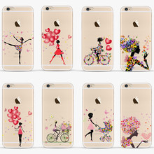 Balloon Girl Coque For Iphone 5s Cover Bicycle Girl Rubber Silicone Phone Case For Apple Iphone 5 Soft Transparent Case