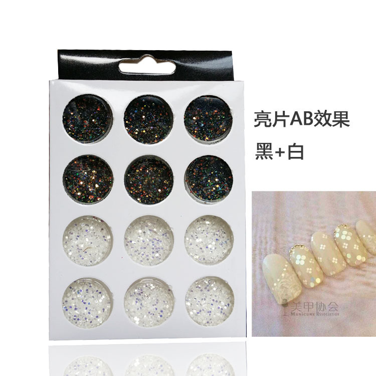 Black&White Nail Glitter Powder Dust Acrylic 2015 New Arrival Nail Jewelry Free Shipping NP0714(China (Mainland))
