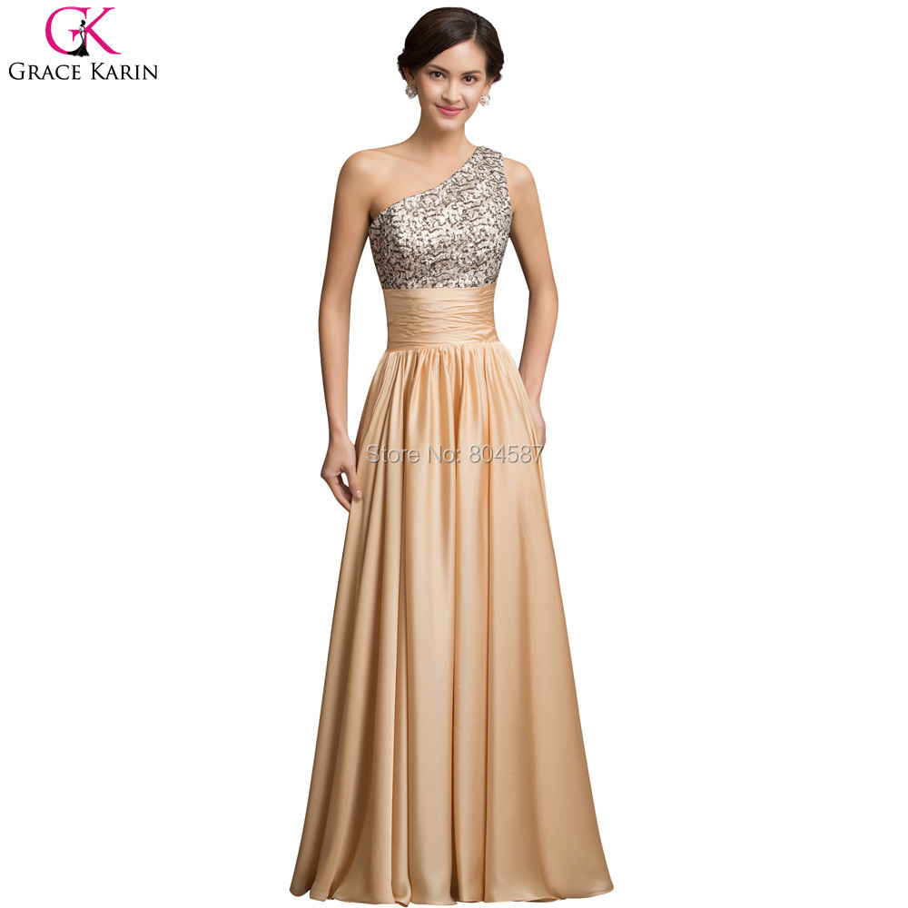 Luxury designer grace karin long ladies one shoulder for Formal long dresses for weddings