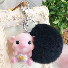 Animal bonito Dos Desenhos Animados Pvc Chaveiro de Porco Pele De Coelho Pom Pom Cadeia de Borracha Macia Chave Amor Soa Chaveiro Llaveros Saco pingente charme(China)