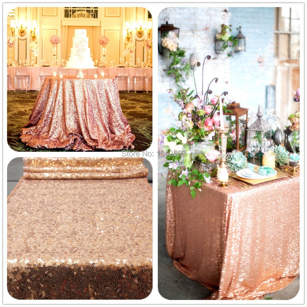 6ft Rectangle Rose Gold sequin Tablecloth,hand embroidery designs christmas coloring retangle tablecloth for party(China (Mainland))
