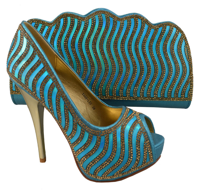 JBS1-76,guaranteed quality African lady's matching shoes and bags with rhinestones in skyblue,size 38 to 42,heel shape 11.5cm(China (Mainland))
