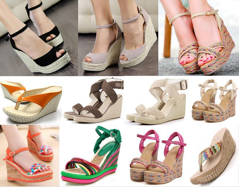 Women Sandals 2015 women bohemia high heels platform wedges sandals straw braid wedges shoes sandals strap high-heeled shoes(China (Mainland))