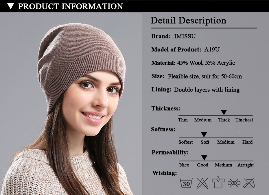 IMISSU Autumn Winter Hats Unisex Knitted Real Wool Skullies Casual Beanie Solid Colors Ski Gorros Fashion Cap Warm Muts Hat