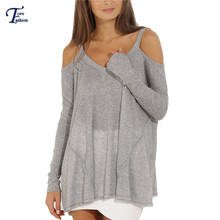 2016 New Kintted Sweaters Pullovers Fashion Women Clothing Casual Grey Long Sleeve Off The Shoulder Sweater(China (Mainland))