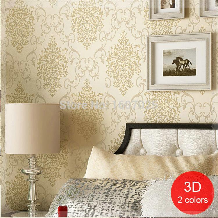 Flock non woven damask 3 d cheap wallpaper roll for walls for Cheap wallpaper rolls