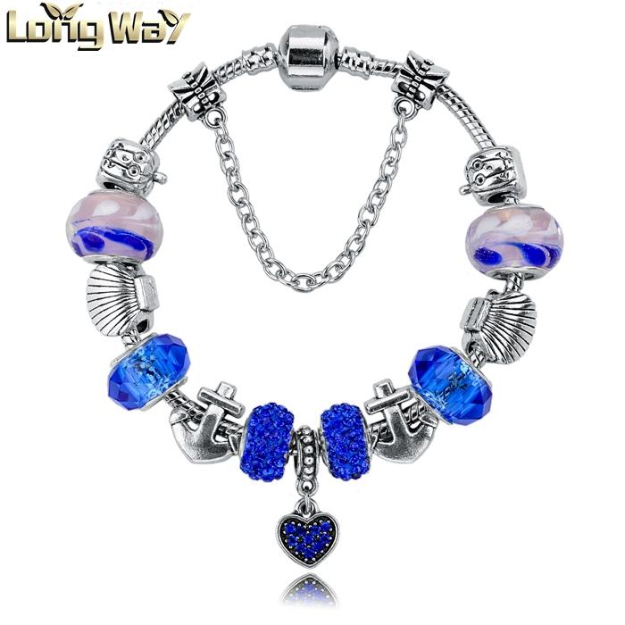 Promotion 2015 Charm Bracelets&Bangles Silver Blue Glas Beads 19cm*3cm Snake Chain Jewelry Bracelets For Women SBR140712(China (Mainland))