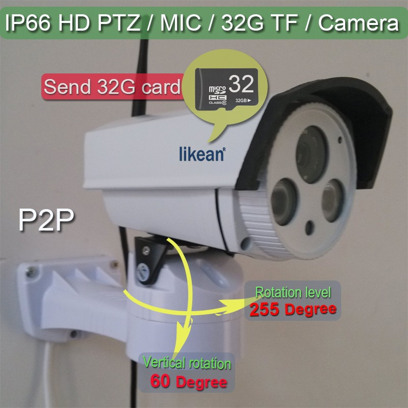 Send 32G card 1080P Full HD IP Camera 2mp Mega Wifi Wireless PTZ P2P Onvif IR Night SD Card CCTV Home Security Built mic likean(China (Mainland))