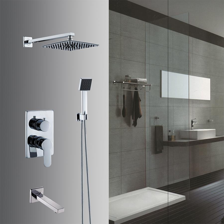 В стену душевой Набор для ванной тропический душ Смесители 8 дюйма из нержавеющей стали квадратная голова душ с ABS ручной душ хром