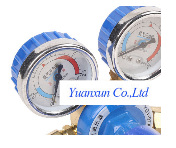 Oxygen pressure reducer gauge welding and cutting table