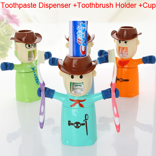 Automatic Toothpaste Dispenser Toothbrush Holder Cup Bathroom Household 3 in 1(China (Mainland))