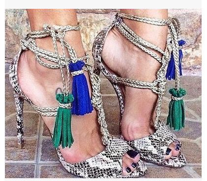 Фотография Hot Selling New Fashion Western Mixed-Color Peep Toe Women Pumps python pattern genuine leather High Heels charm Shoes Woman