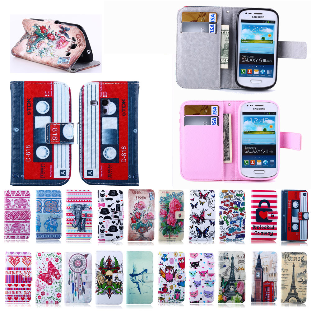 Fashion Painting Case PU Leather Magnetic Flip Cover for Samsung Galaxy S3 Mini I8190 Cell Phone Bag Wallet Cases With Stand Bag(China (Mainland))