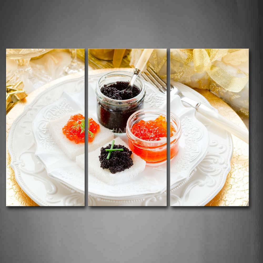 3 piece wall art painting caviar in white plate with fork for 3 pieces cuisine