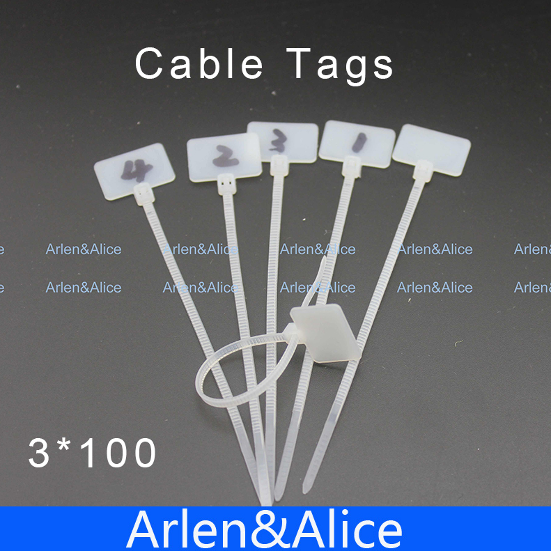 100pcs 3mm*100mm Nylon cable ties tags for On Ethernet RJ45 RJ 12 Wire power cable Label Mak(China (Mainland))