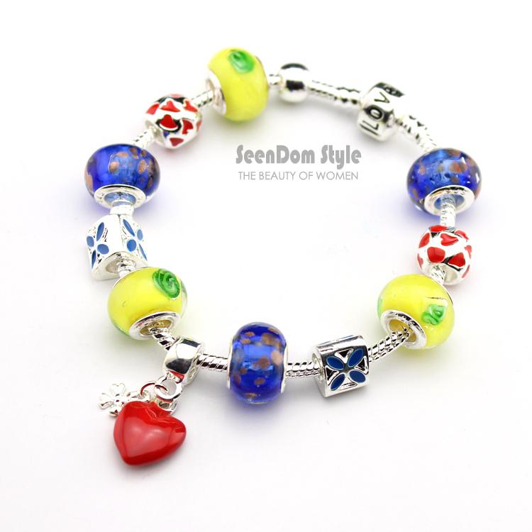 Red Love Heart Dangle 925 Silver Enamel Flowers Charms Pulseras European Murano Beads Clasp Bracelet + Gift Pouch PBS141 - SeenDom & Jewelry store