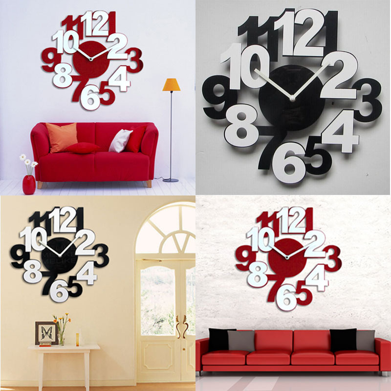 2015 Modern DIY Large Wall Clock 3D Mirror Surface Sticker Home Office Decor(China (Mainland))
