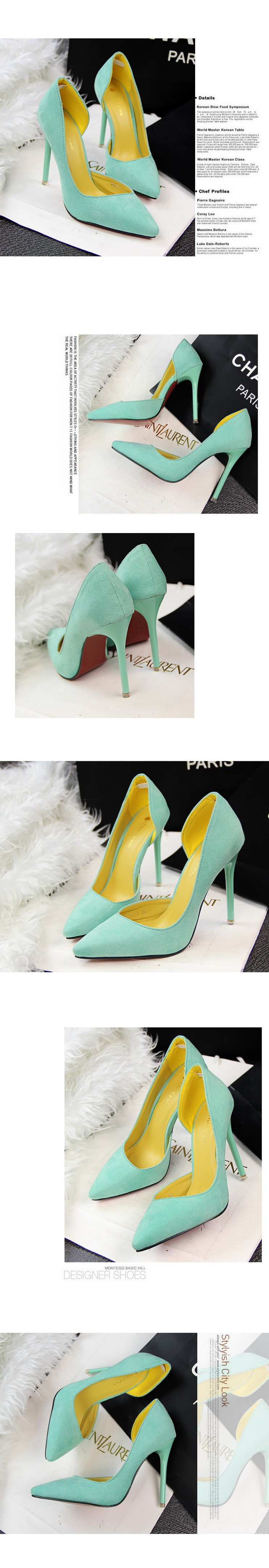 New Brand Fashion Women Flock Pumps Thin High Heel Pumps Shoes For Women Pointed Toe Sexy Party Wedding Woman Shoes ZX2.5