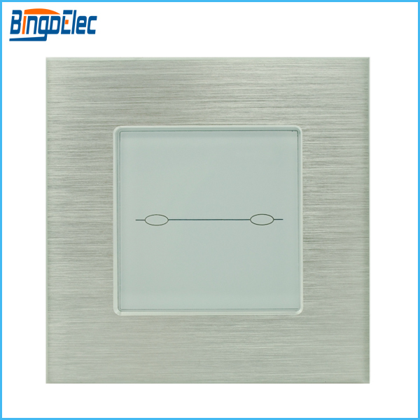 silver aluminum and glass panel touch wall light switch,2gang 2way touch button switch EU/UK standard AC110-250V free shipping<br><br>Aliexpress