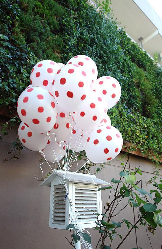 Cheap balloons wholesale, Red White color 12inch natural latex dots balloon 100 pieces/ lot(China (Mainland))