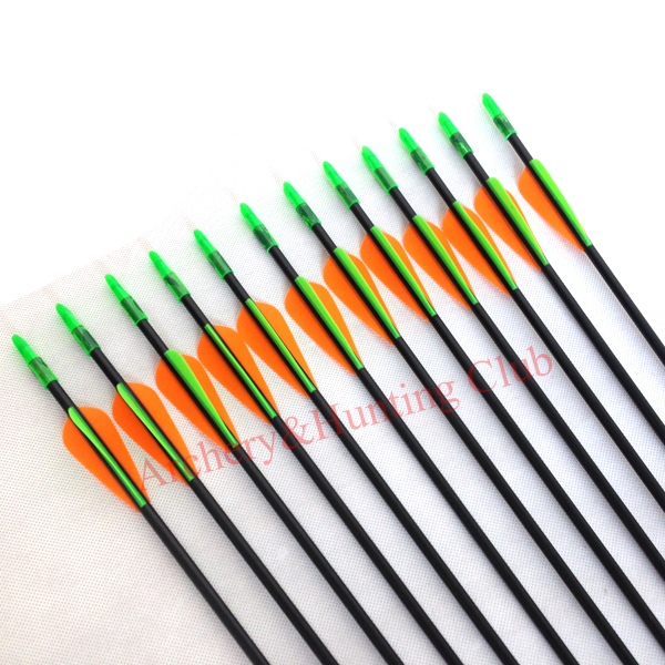 12pcs outerwear fixed arrow tips and nocks fiberglass arrow shaft target archery arrows 6mm OD recurve