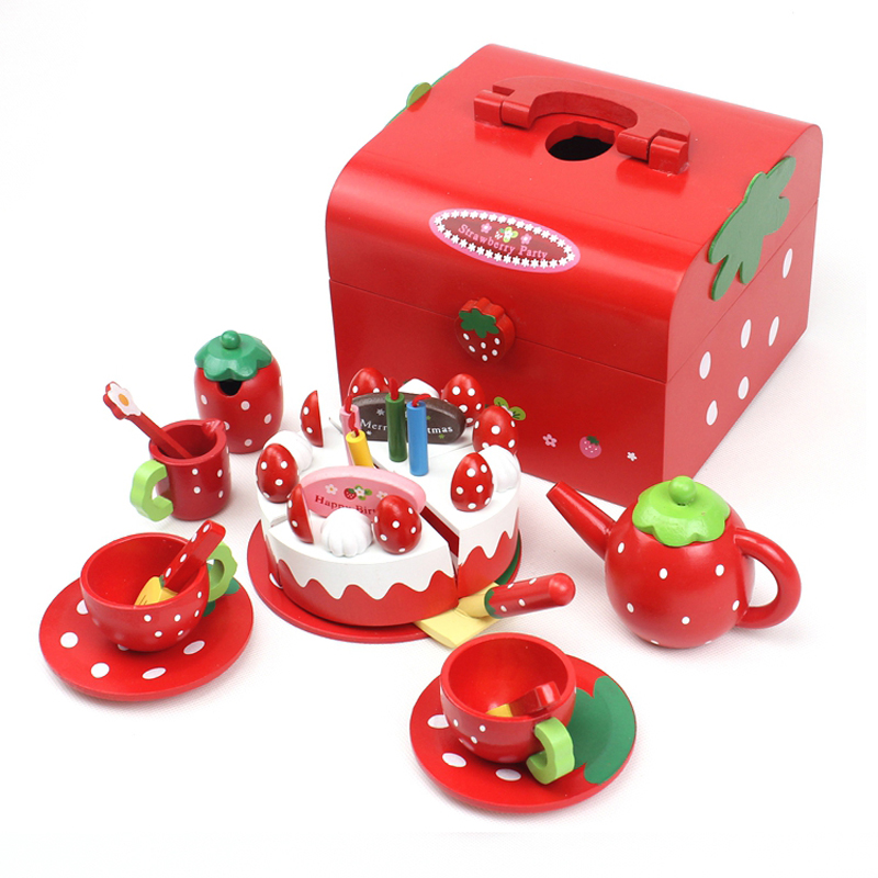 Wooden Kitchen Kits Baby Girls Play House Toys Sets Birthday/Christmas Gift for Children Green Afternoon Tea with Cakes_MG013R