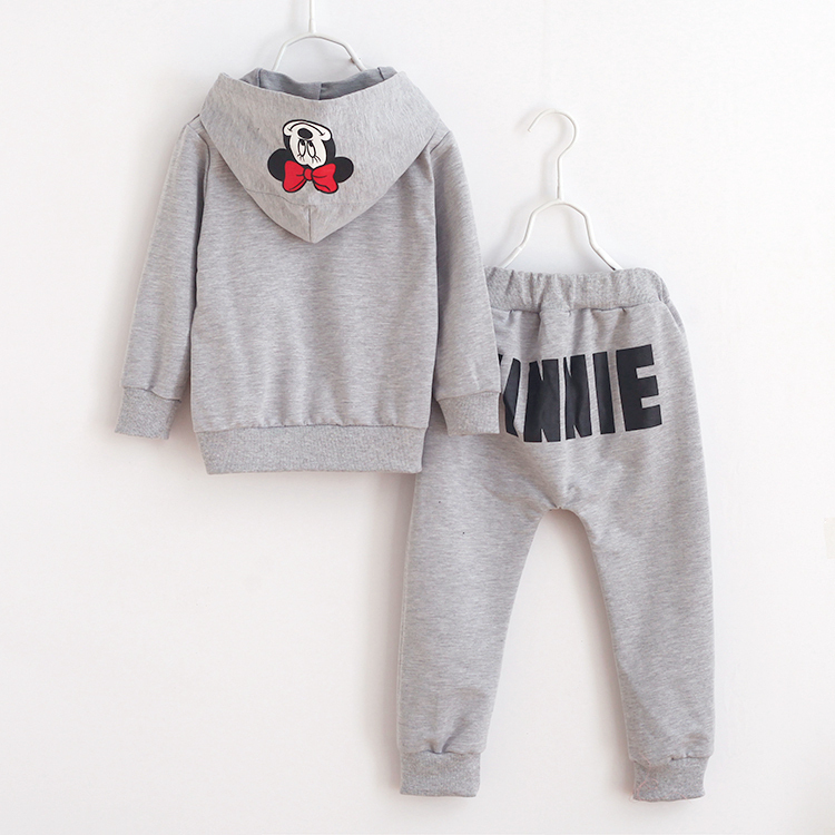 2015 New Fashion Girls Clothing Set Minnie T shirt + Pants 2pcs/set dot bow point suit long-sleeved autumn kids free shipping