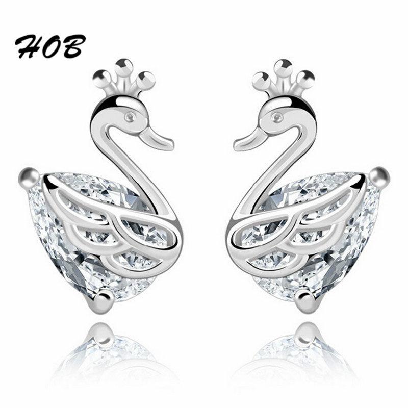 2016 Trendy Jewelry Zircon Swan Silver Plated Stud Earrings for Women Studs Earring Female TFSJ094(China (Mainland))