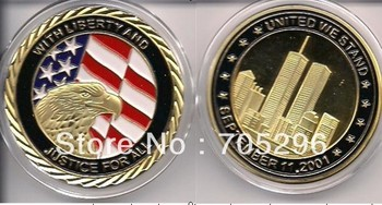 "2013 New design! Gold 9/11 Colorized Coins Memorial / ""UNITED WE STAND"" / Challenge Coin 244,free shipping whoslae 5pcs/lot"