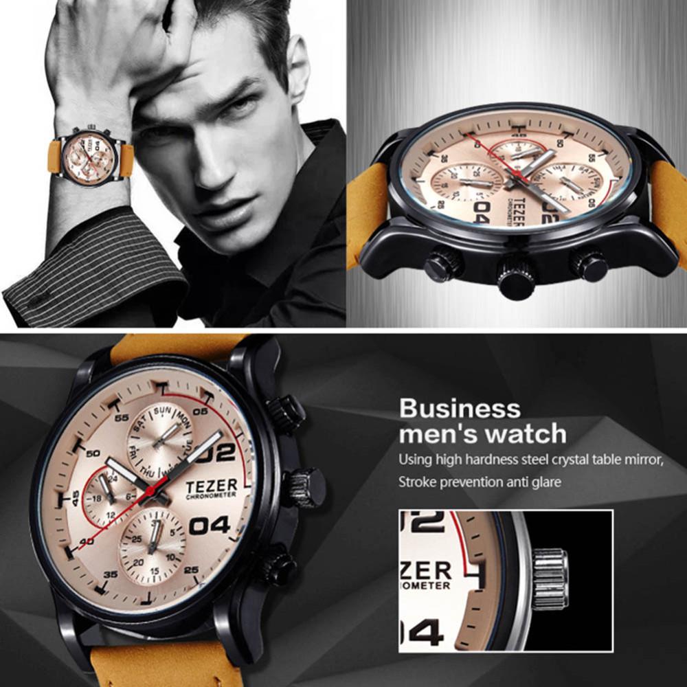 2016 TEZER Люксового Бренда Мужчины Часы Мужской Моды Случайные Кварцевые Часы Кожаный Ремешок Мужчины Спорт Наручные Часы